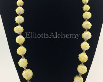 Vintage White Glass Necklace  with yellow and green accents