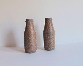 Brown Vase Set, Stone Vase Set, Flower Vase Set, Milk Jug Vase, Blue Bud Vase, Brown Bud Vase, Stone Vase Set, Painted Vases, Gift for Mom