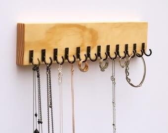 "Pine Wood Wall Jewelry Organizer 12"" Long / Necklace Handmade Holder Hooks Key Holder Hanging Stand Rustic Decor / Best gift idea"