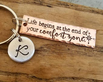 Personalized hand stamped inspirational keychain. Motivational gift. New beginnings gift. Starting over gift. Personal mantra gift.