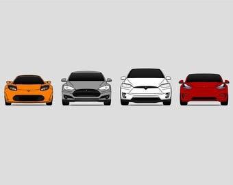 Tesla Generations Poster // Tesla Motors // Tesla Roadster // Tesla Model S