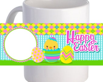 """Personalized """"Hatching Happy Easter!"""" Coffee Mug With Custom Image"""