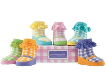 Beautiful Multicolour Gingham Print Baby Socks With Frills 6 Pack
