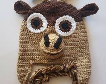 Crochet Sven hat, crochet reindeer hat, crochet Frozen hat, crochet dear hat