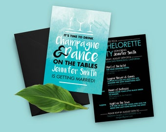 Teal Bachelorette Invitation, Printable Invitation, Bachelorette Invitation, Bachelorette Party Drink Champagne & Dance on the table