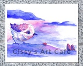 Piper Bird Watercolor Art Print and Postcard || Hand-drawn Artwork
