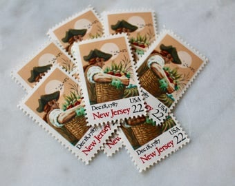 New Jersey Stamps | 10 Unused Vintage Postage Stamps | 22 Cents | 1988