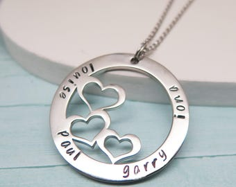 Hand Stamped Heart Necklace - Birthday Necklace for Wife - Name Necklace - Cute Gifts for Wife - Family Necklace - Summer Jewelry Trend