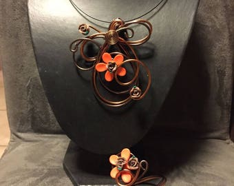 Set of Brown and copper aluminum wire