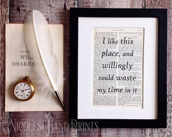 New Home Housewarming Gift, Shakespeare Quote Print, New Home Print, Literary Gift, Home Office Decor, As You Like It, Ooak, Book Page Prin