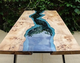 SOLD Live edge river table with epoxy resin SOLD