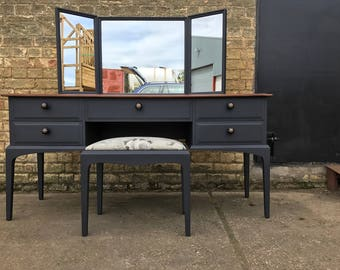 A Lovely Mid Century Stag Dressing Table with Stool