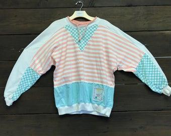 Vintage 80s Pink/Blue Sweatshirt