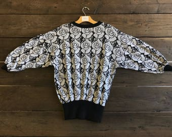 Vintage 80s Rose Print Sweater