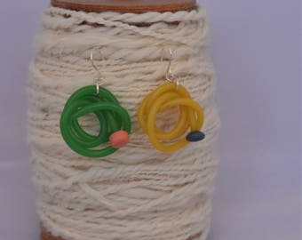 Green and yellow quirky Knitting needle earrings, vintage knitting needle  earrings, quirky earrings handmade from vintage knitting needles