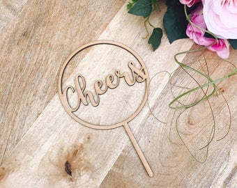 CLEARANCE! 1 ONLY Timber Cheers Cake Topper Birthday Cake Topper Cake Decoration Cake Decorating Happy Birthday Cursive Topper CIRCSPMCG Sug