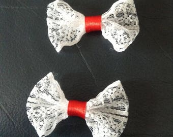 5 bow tie applique lace and satin flower