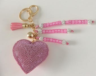 Beautiful Pink Rhinestone Heart Keychain personalize with name mother's day