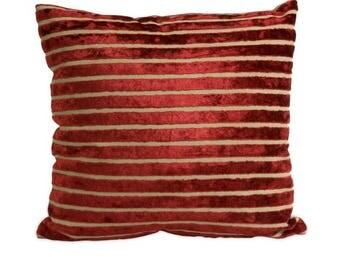 Red Striped Velvet Pillows w/pillow form