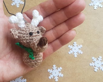 Christmas party favors crochet deer christmas ornaments key fob keychain christmas decorations christmas gifts for coworkers gift for friend