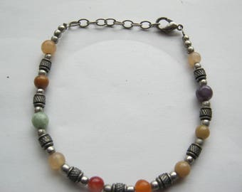 Handmade bracelet with semi-precious stones in the form of beads, Germany to 1970,Durchmesser ca. 7 cm, length ca. 22 cm, very good condition