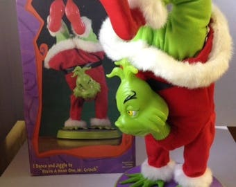 Gemmy GRINCH Hand Stand Dancing Singing Animated WORKING LEGS Box Video Dr Seuss Christmas  Green How the stolen Xmas