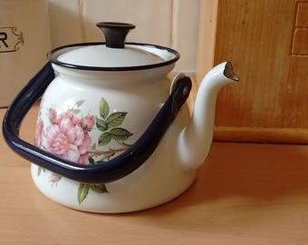 Polish enamel tea or coffee pot / kettle with flower decoration
