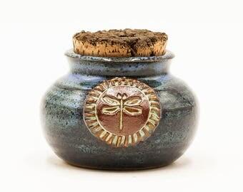 Dragonfly Stash Jar | Stash Jar | Herb Jar | Cork Jar | Pottery | Ceramic | Stoneware | Pottery Cork Jar | Ceramic Cork Jar | Dragonfly