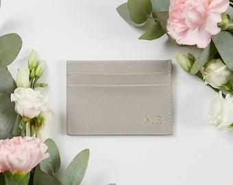 Saffiano Leather Monogram Card holder Grey