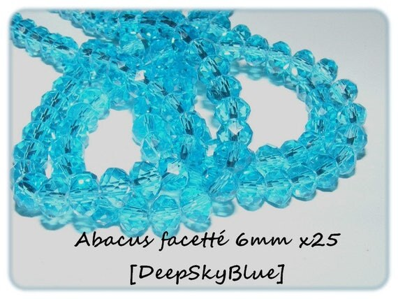 Abacus faceted 6x4mm crystal of Bohemia DeepSkyBlue x 25 beads