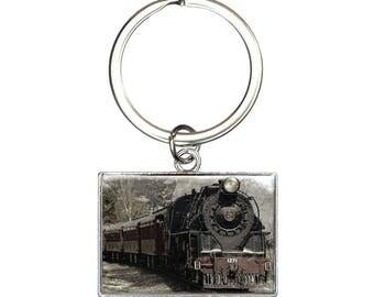 Steam Locomotive Train Railway Railroad Rectangle Keychain Key Ring