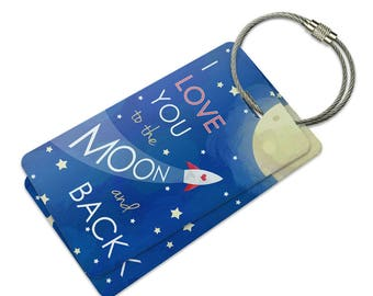 I Love You To The Moon And Back Suitcase Bag Id Luggage Tag Set