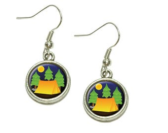 Tent Camping Nature Tree Dangling Drop Charm Earrings