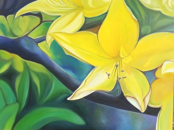 Giclée fine art print, big lily, yellow flower, original oil by Francesca Licchelli, home decore idea, modern decoration, contemporary art.