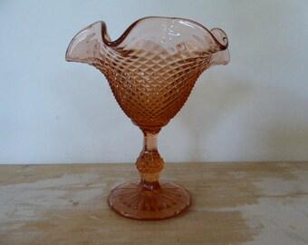 Pink Pressed Glass Pedestal Bowl, Vintage French Glassware,Bonbonnerie