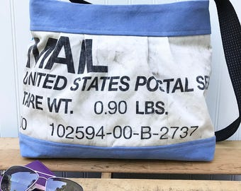 Bucket Bag, Shoulder Bag, Cross Body Bag, Upcycled Mail Bag, Repurposed US Mail Bag, Pleated Bag