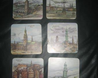 Set of 6 German Coasters/Cork Back Malamin-Qualitat Coasters