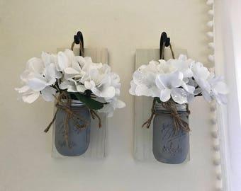 Mason jar vases/sconces