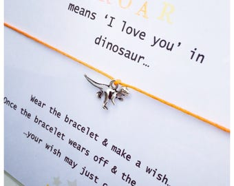 Wishing Bracelet 'ROAR means i love you in Dinosaur' Wish Bracelet Gift
