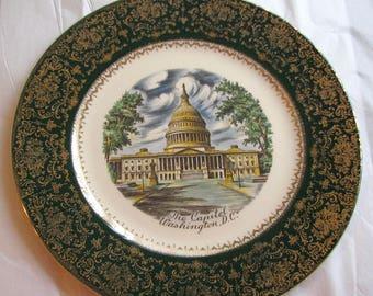 Vintage Plate Washington Capitol Green Ornate Collector Souvenir