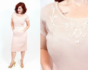 1950s Linen Pale Pink Wiggle Dress With Beads - Small