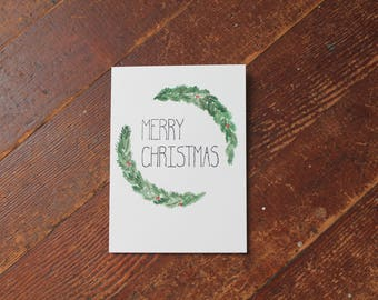 "Watercolor Card ""Christmas Wreath"""