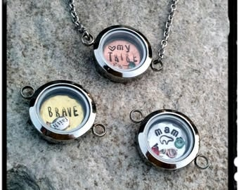 Mother's Locket - Glass//Stainless Steel Locket Necklace - Copper/Gold/Silver Personalized Plate - Mama Bear//My Tribe//Brave- Birthstone
