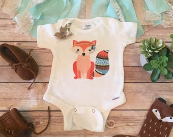 Fox Baby bodysuit, Fox Onesie®, Boho Baby Clothes, Cute Baby Clothes, Baby Girl Clothes, Baby Shower Gift, Cute Onesies, Woodland Onesie