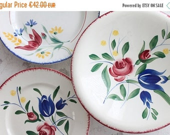 ON SALE 2 beautiful french plate from the famous pottery LUNEVILLE K & G - Bagatelle pattern - hand painted -