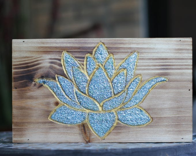 Handcarved Glitter Lotus Flower Wood Wall Hanging