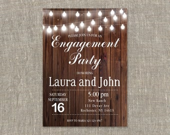 Engagement Party Invitation. Engagement Invitation. Rustic Wood. String Lights. Printable Digital