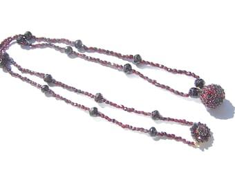 Victorian Bohemian Garnet Necklace with Garnet Ball Pendant - Opera Light