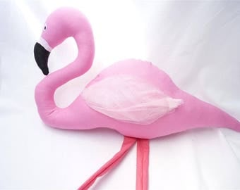Pink flamingo toy, stuffed flamingo personalized, nursery decor, stuffed toy, toddler plush flamingo, doll bird, baby girl plushie