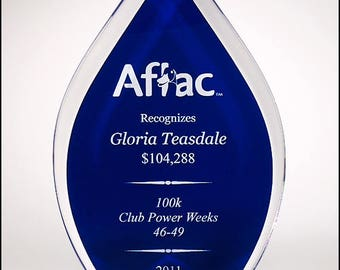 Flame Series clear acrylic award with blue or black silk screened back - Laser engraved - Free engraving - Recognition Award